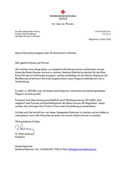 Rotes-Kreuz | Landesverband | Präsident Ambrosi Partner Brief